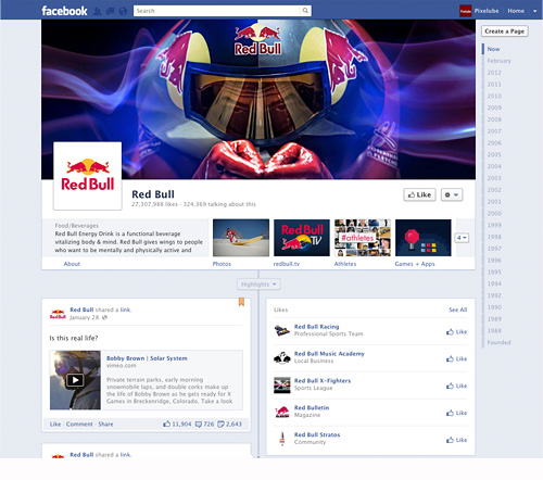 Facebook Timeline Business Page – Red Bull