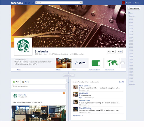 Facebook Timeline Business Page – Starbucks