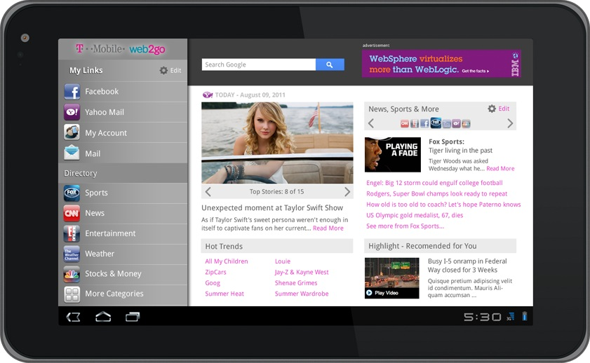 Pixelube » T-Mobile Web2Go AndroidApp (Tablet)