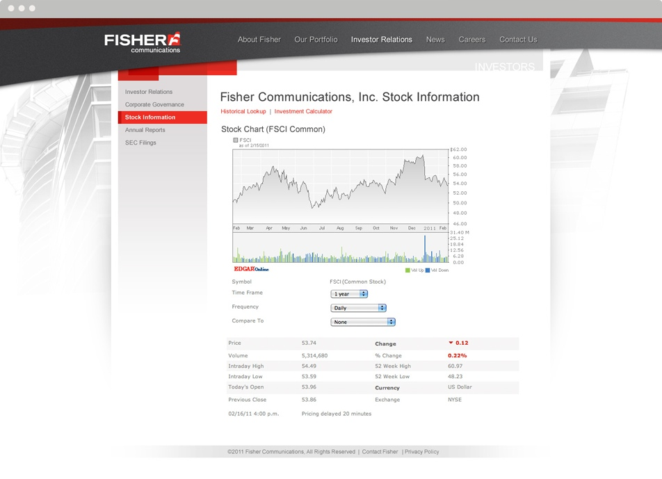 Fisher Communications subpage Design
